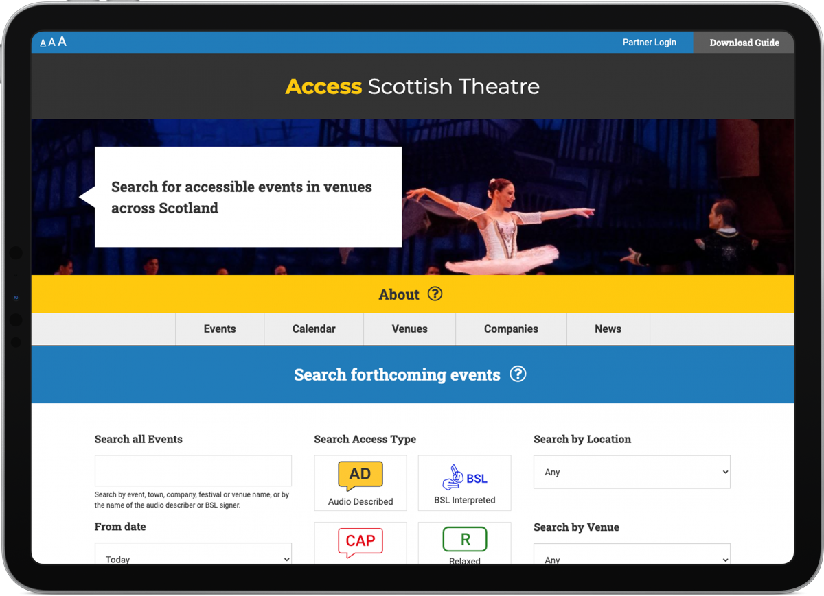 Screengrab of the Access Scottish Theatre website on a tablet