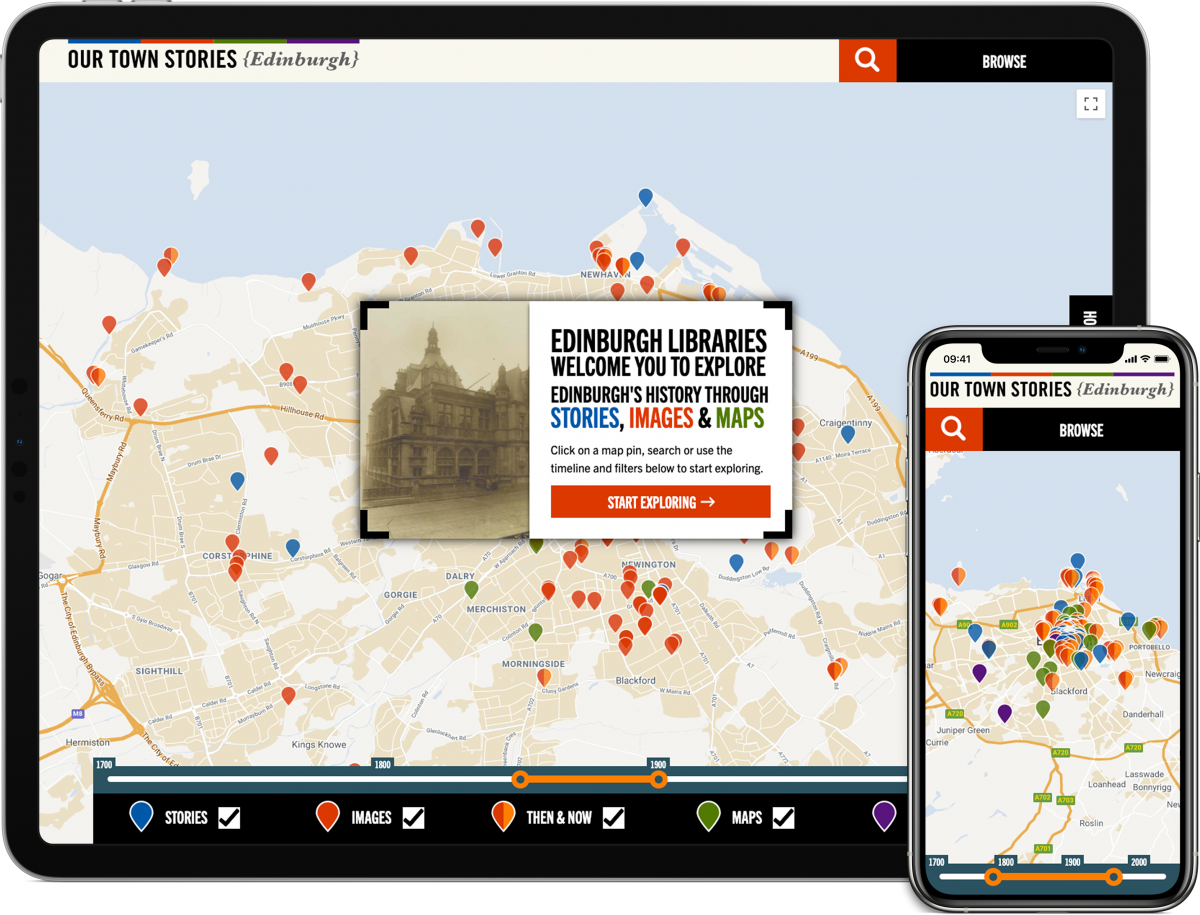 Screengrabs of the Our Town Stories website on a tablet and phone